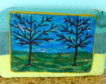 Purse with Needle Felted Landscape