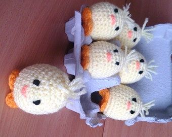 Crocheted Chickens in Egg Carton set of 6 Chicken Soft Toy