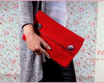 Envelope Clutch Purse, Crochet Red Foldover, Clutch Evening Purse, Crochet Bag, Bridal Clutch Purse, Fashion Item