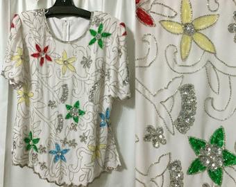 White beaded blouse