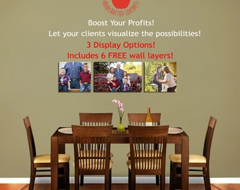 Photography Display Guides - 6 FREE Wall Layers, 3 Display Options, Psd template for photographers, Contemporary Dining Area