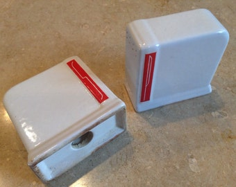 Art Deco Red and White Salt and Pepper Shakers