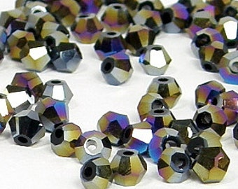 4mm Bicone Crystals, Jet Black Aurora Borealis, 25 count