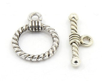 Antique Silver Finish Tibetan Style Swirled Circle Toggle Clasp (CLP-T-AS-2), 5 sets