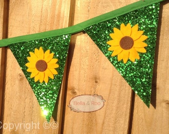 Sunflower Glitter Bunting, summer party decor, girls room, frozen inspired party flags, floral bunting, glitter garland, party pennants