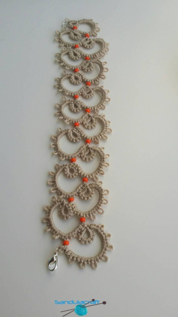 tatted bracelet beige with orange beads tatting frivolite