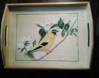 Tray with Handpainted Dogwood tree with Bird.