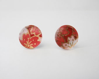 Glass Earring Studs with Chiyogami Paper, Cherry Blossoms on Red
