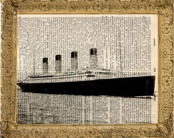 Titanic art mixed media on upcycled dictionary page 8x10