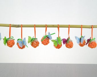 Orange Easter decoration, Rattan balls, Easter branch ornament, Spring/Summer, Butterfly