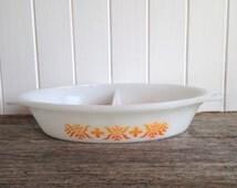 Pyrex Tribal pattern split casserole dish