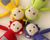 Screenies crochet pattern - amigurumi inspired by Teletubbies - Instant download