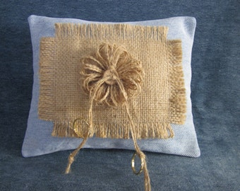 "Wedding ring pillow,denim,burlap, natural yarn flower,wood button, 6 1/2""x8"""