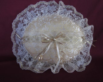 "Wedding ring pillow, gold brocade satin,ivory lace,oval,12""x14"""