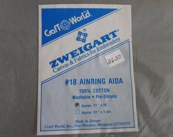 "Zweigart Ainring aida, 18 ct., smokey green, 36""x51"" cross stitch fabric,100% cotton ,embroidery"