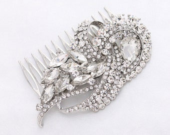 Crystal Silver Bridal Comb Art Deco Wedding Hair Comb Bridal Accessories Gatsby Old Hollywood Wedding Hair Combs Wedding Jewelry