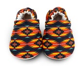 BLACK TRIBAL baby shoes, LUKAS, colorful crib shoes, soft sole shoe