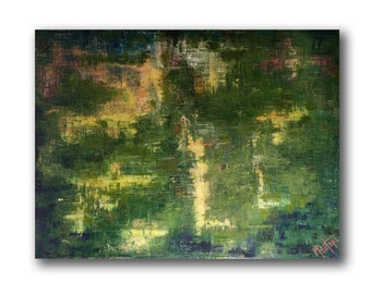 """ABSTRACT PAINTING, Oil on Canvas,  Large Original Painting, Green-Yellow Textured Abstarct, 40"""" canvas, """"Gullible'' by N. Prutski"""