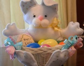 Decorative Easter Bunny with Egg/Candy Basket