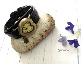 "Leather Watch, Leather Band Heart Watch, Leather Bracelet Watch, Black Leather Wrist Watch, Vintage Leather Watch ""heart"" charm"