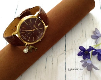 "Retro Leather Watch, Leather Wrap Watch, Leather Bracelet Watch, Brown Wrist Watch, Simple Leather Watch, Leather Watch ""dolphin"" charm"