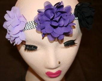Purple and Black Flower Headband