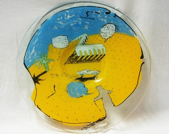 Handpainted Glass Round Plate, Yellow Blue Glass,Israel, Desert Landscape, Signed