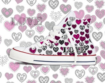 Custom Printed Love & Hearts  Chucks