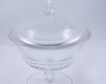 Clear Glass Candy Dish or Compote with Lid