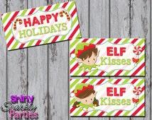 Printable ELF KISSES Treat Bag TOPPERS - Christmas Treat Bag Toppers - Holiday Treat Bag Toppers - Elf Treat Toppers - Diy Christmas