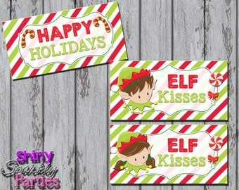 ELF KISSES Treat Bag TOPPERS - Christmas Treat Bag Toppers - Holiday Treat Bag Toppers - Elf Treat Toppers - Diy Christmas Happy Holidays