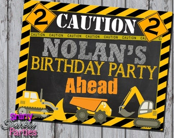 Printable CONSTRUCTION PARTY SIGN - Construction Birthday Party Decoration - Construction Welcome Sign - Dump Truck Party - Party Decoration