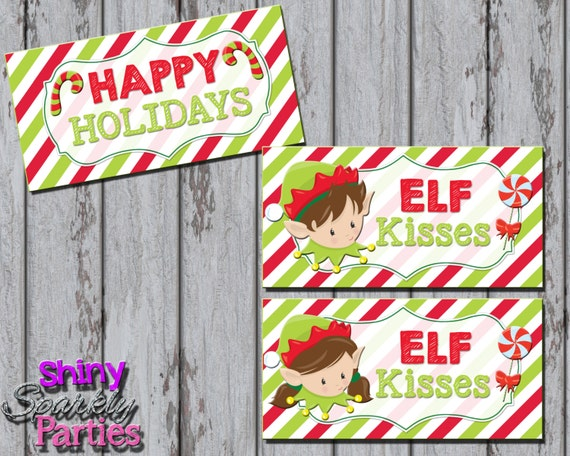 ELF KISSES Treat Bag TOPPERS - Christmas Treat Bag Toppers - Holiday ...