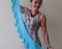 Turquoise blue knitted linen scarf, handmade from natural linen yarn
