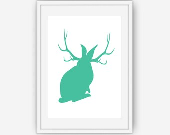 Teal Jackalope Print, Teal Wall Art, Animal Print, Wall Art, Printable, Instant Download