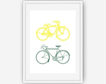 Yellow and Green Bicycle Print, Bike Print, His and Hers Print, Bicycle Wall Art, Bicycle Print, Wall Art, Printable, Instant Download