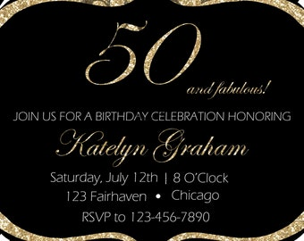 Glitter 50 & Fabulous Birthday Party Invitation