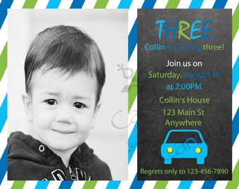 Car Birthday Party Invitation 5x7