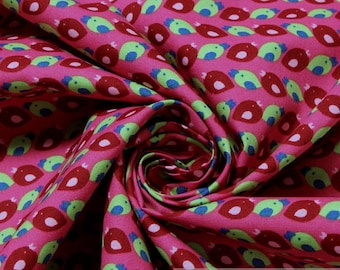 2 meters Fabric for children pure cotton hot pink little birds allover