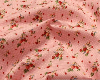 Fabric pure cotton pink woodland strawberry blossom