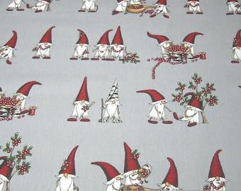 Fabric pure cotton rib grey gnome cranberry imp Christmas