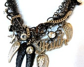 Black Statement Necklace, Black Silver, Chunky Layered Chains, Wings Hearts, Rhinestones, Unique Gift