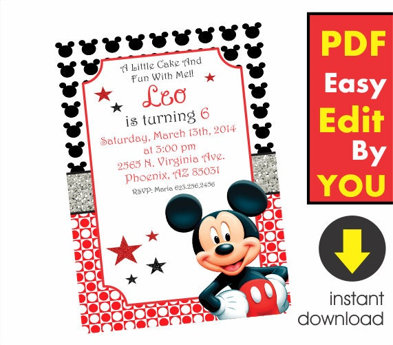 Mickey Mouse Invitations Template was perfect invitation layout