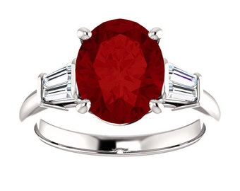 Red Ruby Oval Engagement Ring 14k White Gold 1, 2, 3 ct. Center Bridal Wedding Ring Baguette Diamonds New Wedding Ring