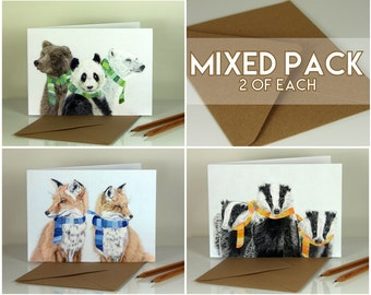 Mixed Winter Animals. Blank greeting cards. Pack of 6 (2 of each design)