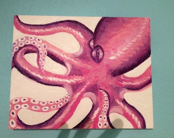 "Pink ""Curly Octopus"" Painting"