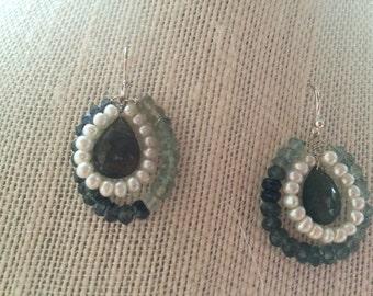 Moss aquamarine and pearl earrings