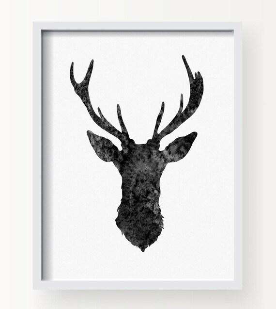 hnliche artikel wie hirsch kopf aquarell art print schwarz und wei wild tier wand kunst. Black Bedroom Furniture Sets. Home Design Ideas