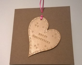 Anniversary Card. Handmade Leather Card. Hand embossed and punched. Embossed message can be personalised..
