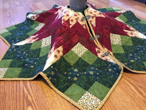 Quilted Tree Skirt Quilted Christmas Tree Skirt Poinsettia